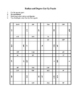 Radian Degree Equivalents Cut-Up Puzzle