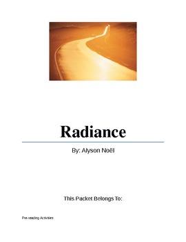 Radiance By Alyson Noel (Student Packet)