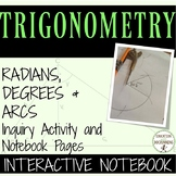 Radians Degrees Unit Circle Inquiry center activity notebo