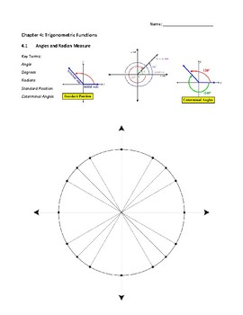 Radians, Degrees, and Coterminal Notes