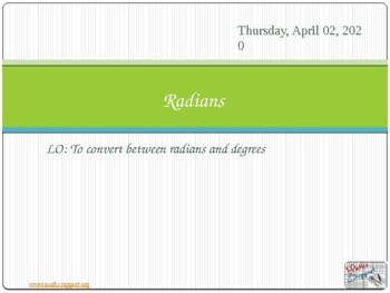 Radians, arcs and sectors