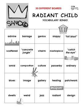 Radiant Child Vocabulary Bingo