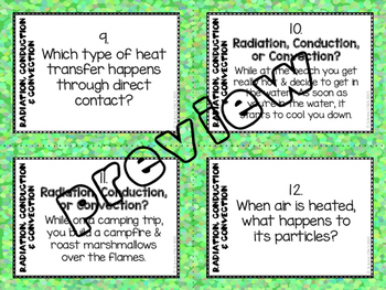Radiation, Conduction & Convection Task Cards - with or without QR codes