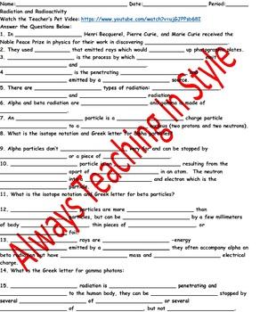 Radiation and Radioactivity Video Worksheet (Editable)