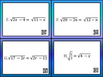 Radical Equation Task Cards