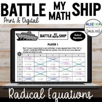 Radical Equations - Battle My Math Ship Activity