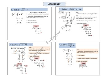 Bundle Radical Equations Foldable for Interactive Notebooks