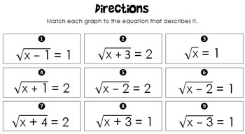 Radical Equations Matching Activity