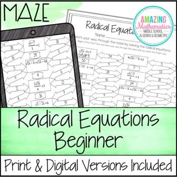 Radical Equations Maze - Beginner