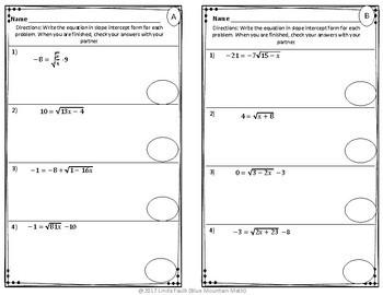 Radical Equations Partner Practice