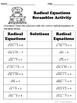 Radical Equations Puzzle