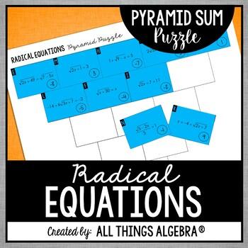 Radical Equations Pyramid Sum Puzzle
