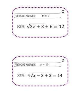 Radical Equations Scavenger Hunt