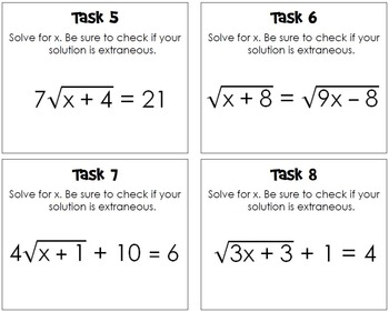 Radical Equations Task Cards
