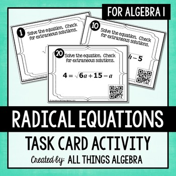 Radical Equations Task Cards (Algebra 1)