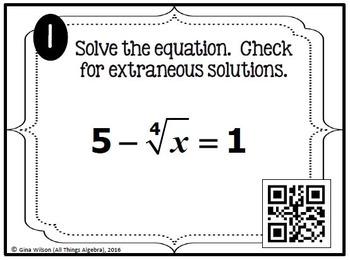 Radical Equations Task Cards (Algebra 2)
