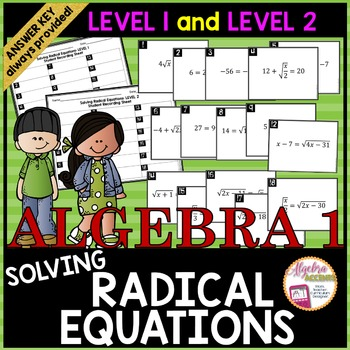 Solving Radical Equations Task Cards LEVEL 1 AND LEVEL 2 COMBO PACK