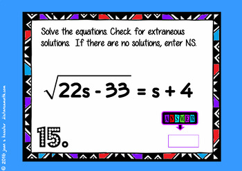 Radical Equations with BOOM Cards Digital 1:1 Algebra