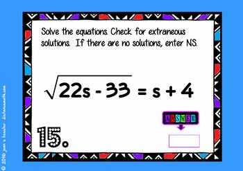 Radical Equations with BOOM Cards Digital 1:1 Algebra