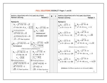 Radical Equations with the same solutions Partner Activity - two versions