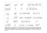 Radical, Exponent, and Radical Equation BINGO