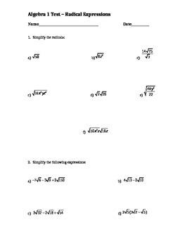 Radical Expressions Test - Algebra 1