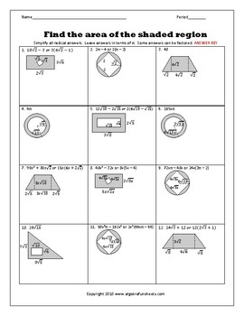 Radical Operations as Shaded Area Problems Review Worksheet