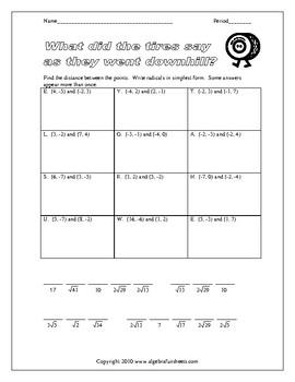 Distance Formula Worksheet by Algebra Funsheets | TpT