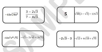 Radical Expressions Dominoes
