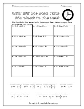 Midpoint Formula Worksheet