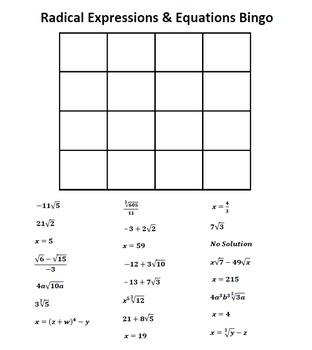 Radical Expressions & Radical Equations Bingo