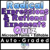 Radical Expressions & Rational Exponents Quiz/Mini Test- M
