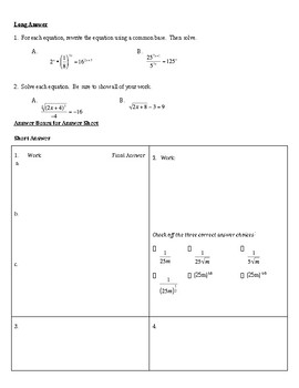 Radical Expressions & Rational Exponents Review & Assessment