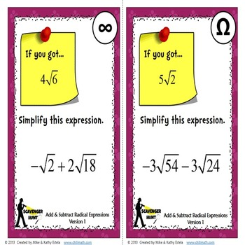 Radical Expressions Scavenger Hunt {Adding and Subtracting}