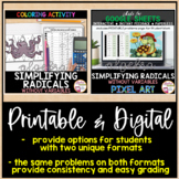 Simplifying Radicals without Variables Coloring Activity