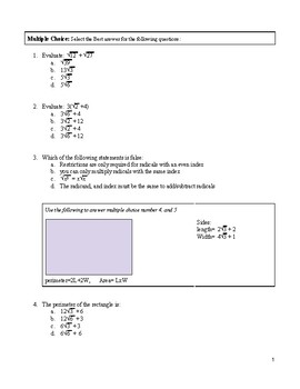 Radical Expressions Test