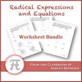 Radical Expressions and Equations Worksheet Bundle