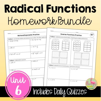 Radical Functions Homework Bundle