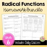 Radical Functions Homework (Algebra 2 - Unit 6)
