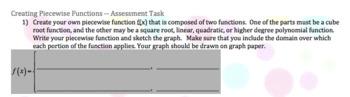 Radical Functions - Pre-AP Piecewise Functions Work