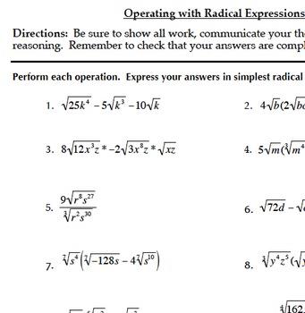 Radical Functions & Rational Exponents Bundle (Common Core Algebra II)