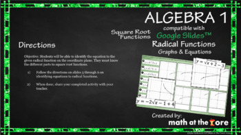 Radical Functions - Square Root - Graphs and Equations - GOOGLE Slides