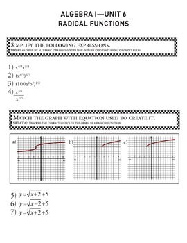 Radical Functions - Unit 6 Algebra Curriculum and Student Workbook