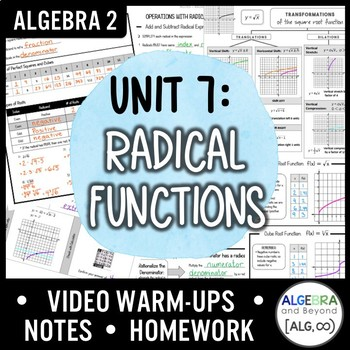 Radical Functions Unit (Algebra 2 Curriculum)
