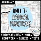 Radical Functions Unit Bundle (Algebra 2 Curriculum)