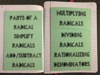 Interactive Notebook Radical Square Root Foldables