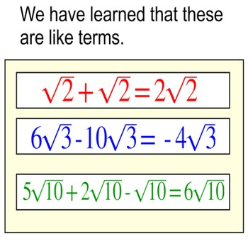 Adding Square Roots with no Calculator 2 Lessons, 2 Assignments for Power Point