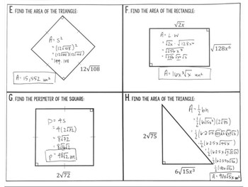 Radical Operations Area and Perimeter Applications Task Cards