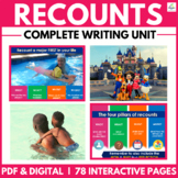 Recount Writing Unit | Distance Learning | Graphic Organizers | Prompts | Tasks