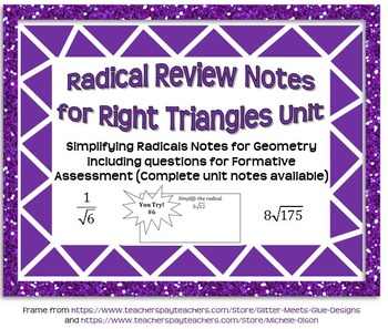 Radical Review Guided Notes for Right Triangles (Geometry)